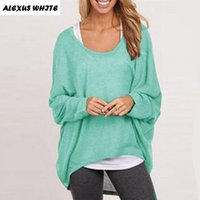 Wholesale Wholesale Women Cashmere Sweaters - Wholesale- 2017 Autumn Winter Cashmere Sweaters Women Fashion Sexy V-neck Sweater Loose Wool Sweater Batwing Sleeve Plus Size Pullover
