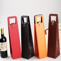 Wholesale Wine Bottle Bag Leather - Luxury Portable PU Leather Wine Bags Red Wine Bottle Packaging Case Gift Storage Boxes With Handle Bar Accessories ZA3103