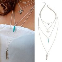 Wholesale Sexy Beach Chinese - Silver-Tone Multilayer Tassel Necklace With Chinese Knot Star Feathers Turquoise Charm Bar Statement Necklace Sexy Summer Beach Jewelry