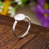 Fine argento 925 Sterling Silver Engagement Wedding Ring 8x8mm Cabochon tondo Semi Mount Opal Jewelry impostazione popolare placcato oro