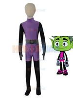 Wholesale Kids Lycra Bodysuit - Beast Boy Costume for Adults and Kids Lycra Spandex Zentai Halloween Cosplay Bodysuit Purple & Grey & Black Beast Boy costume