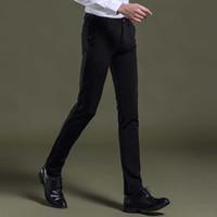 Wholesale Slim Fit Work Suit - Wholesale- new arrival casual cotton men suit pants slim fit zipper tretchable pant chinos trousers pantalones deporte design work wear 437