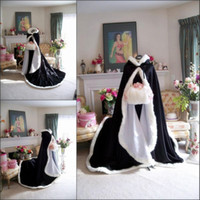 Wholesale Genuine Fur Cape - 2018 Bridal Winter Warm Long Wedding Cloak Cape black Faux Fur Cape Hot