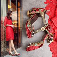 Wholesale Sandals Diamond Flowers - Luxury Retro The Diamond Velvet Wedding Shoes Red Mary Jane Sheepskin Sandals Eleagnt Flowers Cage High Heeled Pumps Woman 2017