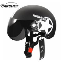 Wholesale Helmet Half Star - Motorcycle Helmet Half Open Face Adjustable Size Protection Gear Head Helmets Unisex Five-pointed Star Black Red Newest