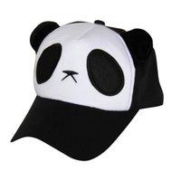 Wholesale Kids Panda Baseball Hat - Wholesale- 2016 Fashion Panda Pattern Child Boys Girls Caps Red Blu Black Color Cute Panda Baseball Cap Kids Summer Hat