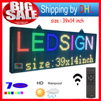 Wholesale Led Display Signs Wholesale - free shipping high-brightness programmable scrolling LED display P10RGB 7 color outdoor LED sign 36cm by 100 cm