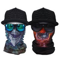 Escudo Cara Al Por Mayor Baratos-Al por mayor- Skull 2 ​​piezas Bandana bufanda multifuncional Magic Face Shield
