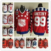 ingrosso pullover di hockey di moda-Fashion Retro TUTTE Star Hockey Maglie 66 Mario Lemieux 99 Wayne Gretzky 22 Mike Bossy 68 Jaromir Jagr 9 Mike Modano Jersey a buon mercato