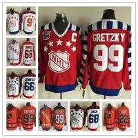 Wholesale Mario Stars - Fashion Throwback ALL Star Hockey Jerseys 66 Mario Lemieux 99 Wayne Gretzky 22 Mike Bossy 68 Jaromir Jagr 9 Mike Modano Jersey Cheap
