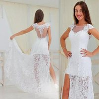 Sexy Style Full Lace Wedding Dresses Side Split Cap Sleeve See Through Back Floor Length Sheath Bridal Gowns Нестандартный размер