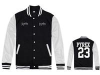 Wholesale Baseball Star Buttons - Pyrex Vision stars #23 baseball jackets sweatshirts sweats hip hop coats rock men fashion name brand suit male clothing