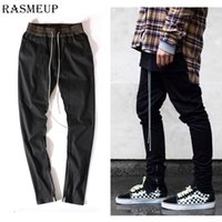 Wholesale Pants Korean - Wholesale- Korean Mens Mgd Chinos Joggers Fear Of God Casual Pants Urban Black Kanye West Justin Bieber Harem Dress Zipper Track Pants