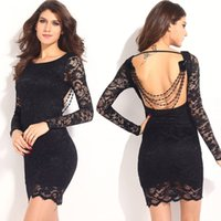 Wholesale Thrilling Lace - Europe Sexy Lace Dress Women Thrilling Open Back Beaded Long Sleeve Party Club Mini Bodycon Crochet Vestidos Roupa Feminina q1113