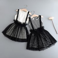 Wholesale Cute Tutu Dresses Long - Everweekend Girls Long T-Shirt with Lace Slip Dress 2pcs Sets Cute Baby Summer Outfits