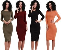 Xl Langarm Bodycon Kleid Kaufen -Frauen Bodycon Kleider Langarm Winter Bottom Kleid Odell Baumwolle Casual Sexy Nachtclub Bleistift Kleid SF11-19