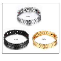 Wholesale Mens Titanium Chain Link Bracelets - New Arrival Germanium Bracelet Magnetic ion Nano Energy 4in1 Hearth Bracelet Titanium Steel Gold Plating Hand Chain For Mens