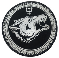"""Wholesale wholesale customized patches - Customized LONG WOLF Embroidered Iron On Patch Vest Leather Jacket Badge Embroidery 4"""" Motorcycle Biker Club Crest DIY Applique Free Ship"""