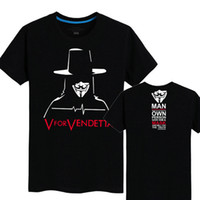 Wholesale Vendetta Clothing - V for Vendetta T shirt Anti pilling short sleeve Cool tees Film fans clothing Men cotton Tshirt