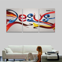 Wholesale Painting Canvas Jesus - 3 Panel Canvas Wall Art Prints Abstract Colorful Christ Jesus Painting Artistic Picture for Home Decor Living Room Decorate Room