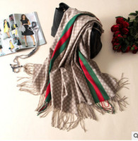 Wholesale Colored Scarves - 2017 The latest design winter women's cape colored stripes with thick double-sided wool scarf and shawl