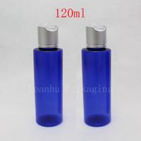 Wholesale wholesale 4oz glass bottles - 120ml round empty blue lotion cream plastic bottles aluminum caps ,120cc DIY cosmetics packaging bottles container Makeup 4oz