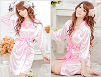 Wholesale Ladies Sexy Silk Nightgowns - Sexy Women Ladies Open Front Lingerie Set Underwear Robe Pajamas Silk Lace Kimono Bathrobe Nightgown Lingerie Sleepwear Nightwear
