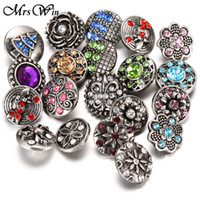 Wholesale Celtic Buttons - Wholesale-10pcs lot Snap Jewelry 12MM Snap Buttons Metal Flower Rhinestone Styles Ginger Snaps Charms Fit DIY Snap Bracelets Bangles