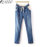 Wholesale Womens Harem Jeans - Wholesale- 2015 New Europe Woman's Fashion Embroidery Flanging Harem Pants Womens Plus Size Casual Pants Elastic Wasit Jeans T8620