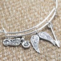 Wholesale Arrow Bracelet Bangle - 12pcs The Walking Dead Daryl inspired bracelet motorcycle Angel wings arrow charm bangle bracelet