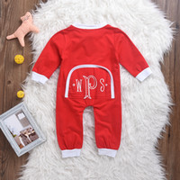 Wholesale Baby Boy Coverall Rompers - Mikrdoo Baby Boy Girl Christmas Clothes Kids Red Long Sleeve Rompers Zipper Hot Bodysuit Coverall Infant Clothing Cotton Toddler Wholesale