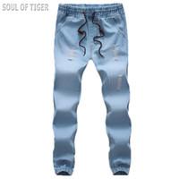 Wholesale Men S Jeans Bermuda - Wholesale- Spring Summer 2017 Designer Mens Distressed Jeans Hip Hop Luxury Brand Men Harem Jean Homme Bermuda Jeans Masculina Big Size 5XL