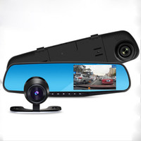Wholesale Night Vision Car Rear - Car DVR Rear View Mirror DVR with 2 Cameras Dashcam 1080P Video Registrator Recorder G-sensor Motion Detection Dash cam