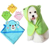 Wholesale Bath Supplies Towels - Wholesale- Soft Pet Dog Cute Cartoon Pajamas Dog Bathrobe Multifunction Absorbent Pet Bath Towel Animal Puppy Cat Warm Blanket Pet Supplies