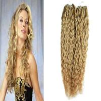 micro ring loop blondine großhandel-Brasilianisches reines Haar Honig blonde lockige Mikro Perle Haarverlängerungen 200g Mikro-Ring-Menschenhaarverlängerungen 1g / s 200s micro Schleife 1g lockig