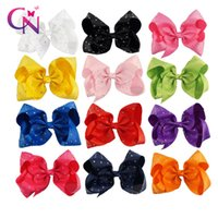 Wholesale Hair Clips Ribbon Diamond - 8 inch Rhinestone Hair Bow With Clip For Cute Girl Boutique Grosgrain Ribbon Diamond Hair Bow