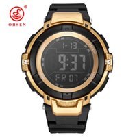 Wholesale ohsen led watch - Fashion Brand OHSEN Digital Watch Male Relogio Swimming Sport Watch Men Rubber Band LED Stopwatch Alarm Electronic Wrsit Watches