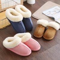 Wholesale High Fashion Slippers Men - High Quality Home slippers women plush Slippers Australia style female house Indoor man Bathroom slippers solid Adult pantufa