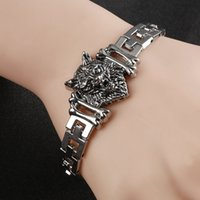 Wholesale Wolf Charms For Bracelets - Fashion Punk Wolf Head Stainless Steel Charm bracelet for Women Bracelets & Bangles Charms Bracelets Men Pulseira Jewelry Gift