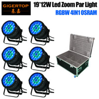 6/10/18 os pack - 6in1 Flightcase Pack x12W Zoom Led Waterproof Par Cans Aluminum Housing DMX Auto Master slave Sound Function x12W OS RAM LED