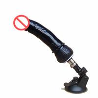 Wholesale Gun Machine Penis - Sex Machine Gun Accessories Automatic Telescopic Dildo Black Simulation Penis Fixed Sucker Female Masturbation Adult sex Toys