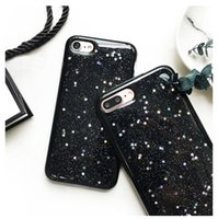 Wholesale Iphone Bling Star Case - Soft Glitter Stars TPU Case For iPhone 6 6S 7 Plus Bling Black Skin Cover free post 1pcs