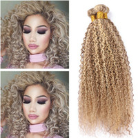 Piano # 27/613 Highlight Human Hair Bundles 3Pcs Kinky Curly Ombre Honey Blonde Piano Mix Couleur Virgin Brazilian Cheveux Humains Extensions de trame