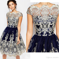 Wholesale Online Custom Embroidery - Wholesale Vintage Lace Embroidery Short Homecoming Dresses Cap Sleeve Knee Length A Line Homecoming Gowns For Online Sale 2018 Hot Sale