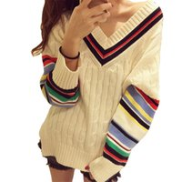 Wholesale Sweater Rainbow Woman - Wholesale-2016 Autumn Winter Fashion Luxury Brand Sweater Women Colorful Rainbow Striped Long Sleeve Deep V-Neck Knitted Pullover Jumper