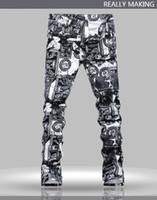 Wholesale Jeans Pattern Design - Top Quality Original Design Men's Trend Unique Printing Jeans Punk Rock Retro Printed Slim Fit Stage Jeans Motorcycle Jeans
