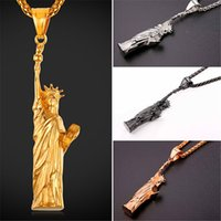 Wholesale Women Statue - U7 Hot Steampunk American Statue of Liberty Pendant Necklace Men Women Charms Jewelry Stainless Steel Gold Plated Statement Pendants GP2409