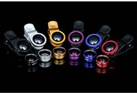 Wholesale Cell Phone Glass Lens - 3 in 1 Universal Clip Wide Angle Cell Phone Fish Eye Glass Camera Lens For iphone Samsung