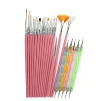 tırnağara sanat fırçaları araçları nokta toptan satış-20 adet / takım Nail Art Tasarım Tırnak Fırçalar Styling Nail Art Araçları Set Süsleyen Boyama Çizim Kalem Araçları
