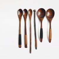 Wholesale Vintage Wood Spoon - Wholesale- Japan Style Wooden Spoon Rice Scoop Eco-Friendly Natural Wood Seasoning Spoon Coffee Bar Stick Vintage Tableware